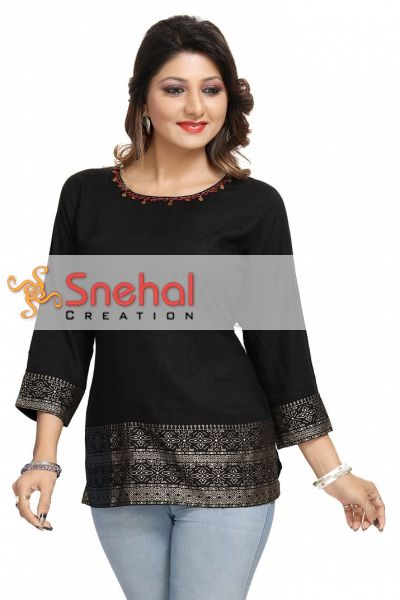Rich Look Rayon Cotton Short Kurti for Girls