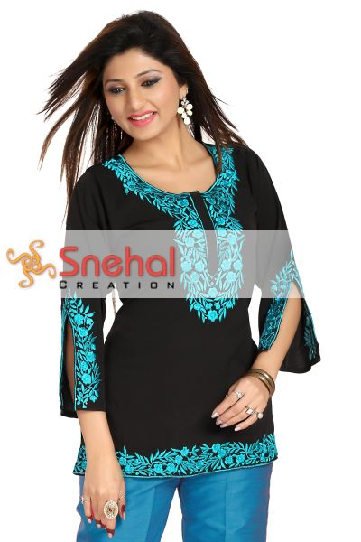 Enticing Black-Blue Embroidered Women Kurta Design