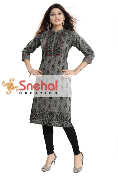 Gorgeous Gray Long Cotton Kurti For Everyday Wear