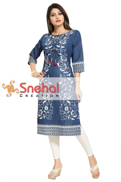 Pristine Floral Printed Denim Kurti with Pom Pom and Bead Accessory