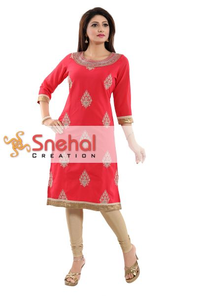 Lustrous Tomato Fine Georgette Tunic with Gold Embroidered Motifs