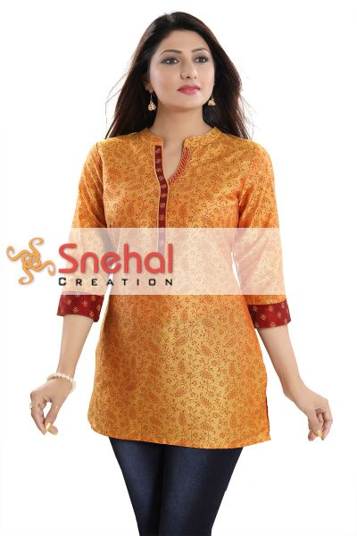 Luxurious Fine Fire Gold Cotton Silk Short Tunic