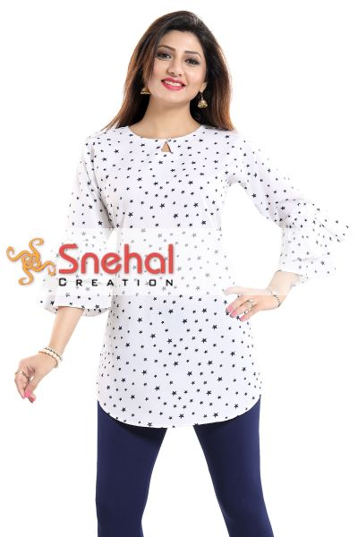 Star Attire White Poly Crepe Short Kurta with Frilled Sleeves