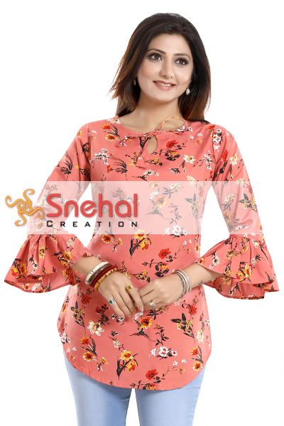 Mesmerising Mood Poly Crepe Apple Bottom Short Tunic Top With Frilled Sleeves Product