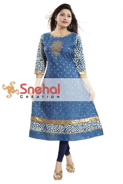 Glorious T.Blue Round Neck Flared Long Kurti with Three Fourth Sleeves