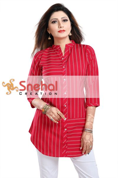 Exquisite Hot Pink Poly Crepe Short Tunic