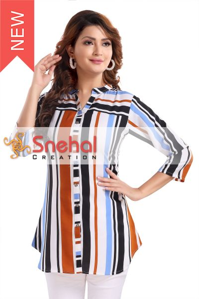 Multicolored Striped Poly Crepe Short Tunic Top